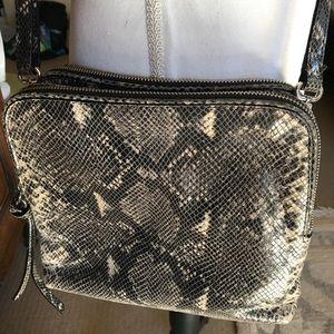 Banana Republic faux python sling cross body purse